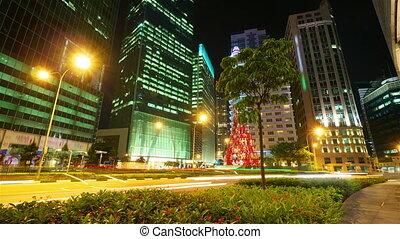 mouvement, nuit, timelapse, rue, singapour