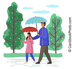 mouvement, octobre, dépenser, rue, jour pluvieux, grand, père, ensemble, temps, passé, bas, fille, arbres