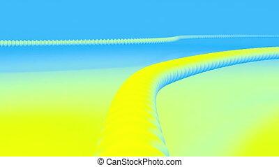 mouvement, par, tube, coloré, ondulé