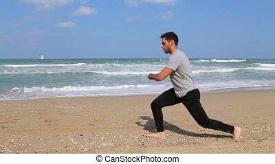 mouvement, plage, marche, étapes, exercice