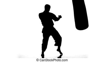 mouvement, sac sable, lent, karaté, homme, pratiquer, arrière-plan., silhouette, blanc