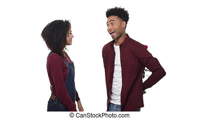 mouvement, sien, lent, rose, jeune, anniversary., américain, anniversaire, africaine, petite amie, surprise, ou, homme