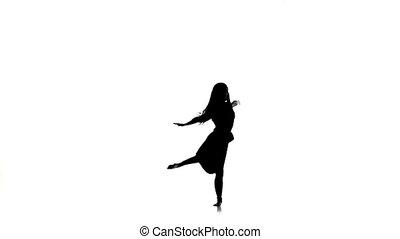 mouvement, style, danse lente, sauts, contemporain moderne, long, silhouette, cheveux, blanc, gracieux, girl