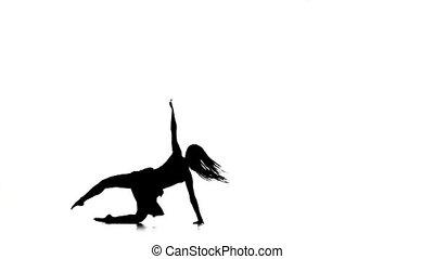 mouvement, style, mince, danse, sauts, contemporain moderne, long, silhouette, cheveux, lent, blanc, girl