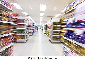 mouvement, vide, barbouillage, allée, supermarché