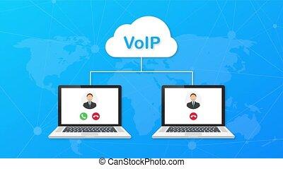 mouvement, voip, appeler, sur, voix, ip., technologie, banner., graphiques, internet