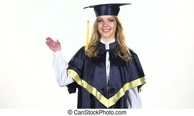 mouvement, waving., lent, white., diplômé