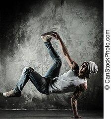 mouvements, danse, frein, jeune, b-boy, homme