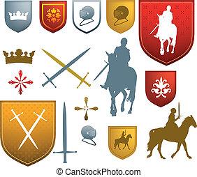 moyen-âge, emblèmes, médiéval, couleur, icônes