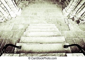 moyen-âge, escalier