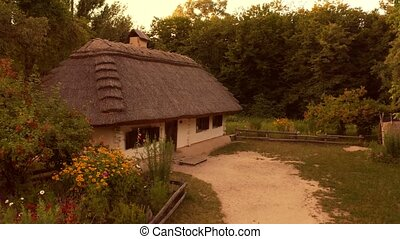 moyen-âge, yard, ancien, hutte, houses.