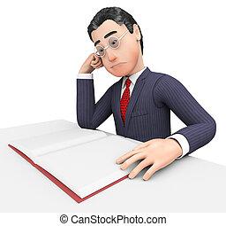 moyens, étudier, cadre, livre, homme affaires, savant, lecture