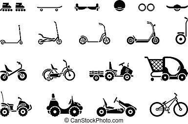 moyens, transport, divers, ensemble, roues, véhicules, types, s, enfants