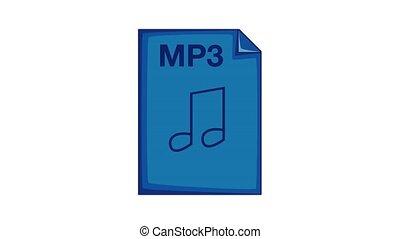 mp3 fichier, icône, animation