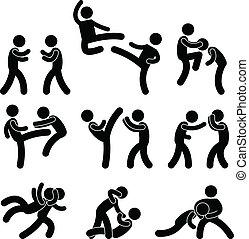 muay, karaté, thaï, boxe, combattant