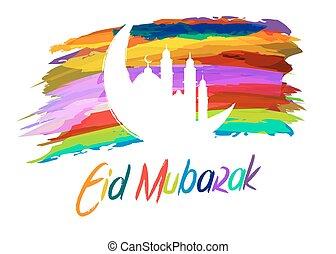 mubarak, islamique, résumé, salutations, peinture, eid, fond, brosse