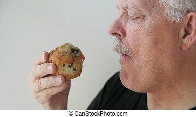muffin, café, a, homme