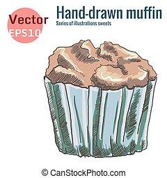 muffin, isolé, chocolat, hand-drawn, fond, blanc