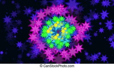 multi, étoiles, arrière-plan coloré