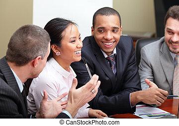multi, affaires femme, interacting., équipe, foyer, ethnique, meeting.