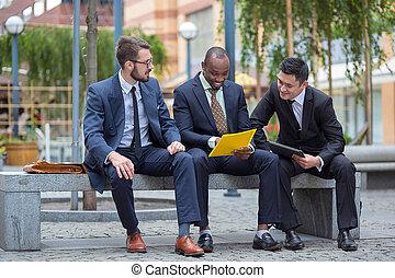 multi, business, ethnique, portrait, équipe