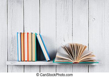 multi-coloré, books., livre, ouvert, autre