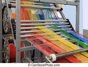 multi-coloré, machine, textile, fils