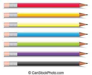 multi-coloré, sept, ensemble, crayons, colours., vecteur, illustration