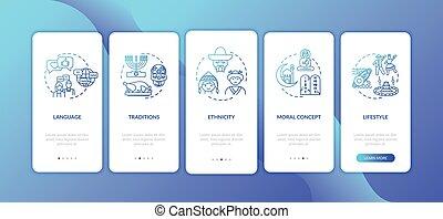 multi culturel, douane, app, page, mobile, concepts, écran, onboarding