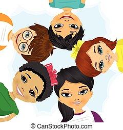 multi ethnique, former, cercle, groupe, enfants