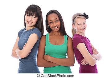 multi, groupe, adolescent, école, culturel, amis fille