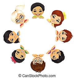 multi, groupe, enfants, ethnique