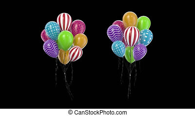 multicolore, boucle, canal, ballons, paquet, alpha