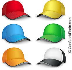 multicolore, casquettes