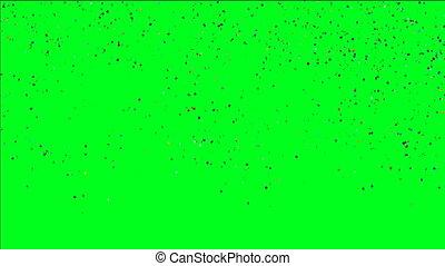 multicolore, confetti, sur, tomber, écran, vert