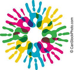 multicolore, diversité, cercle, mains