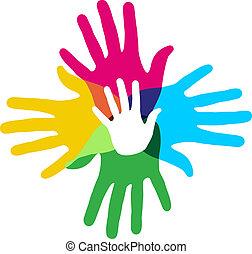 multicolore, diversité, mains