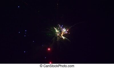 multicolore, grand plan, feux artifice, nuit, ciel noir, flamme
