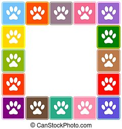multicolore, patte imprime, animal, border.