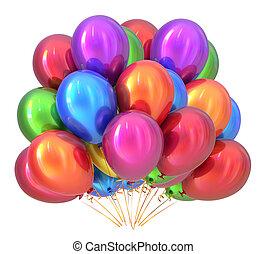 multicolored., décoration, fêtede l'anniversaire, ballons, balloon, tas