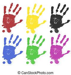 multicoloured, caractères, main