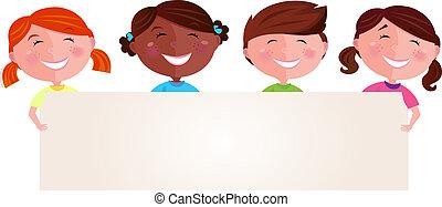 multiculturel, bannière, enfants