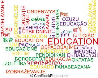 multilanguage, wordcloud, concept, education, fond