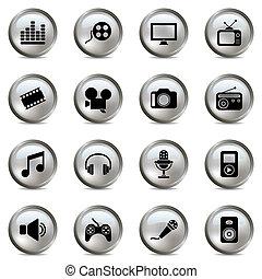 multimédia, ensemble, argent, icônes