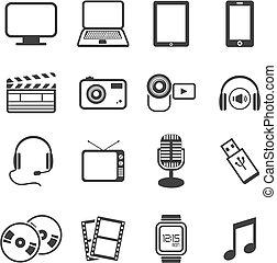 multimédia, icône, ensembles
