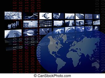 multiple, business, écran, carte, constitué, mondiale