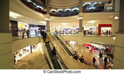 multiple, centre, gens, commercer, planchers, mouvements, escalators