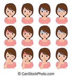 multiple, expression, femmes
