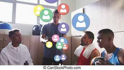 multiple, joueurs, équipe, profil, entraîneur, football, instruire, mâle, contre, flotter, icônes