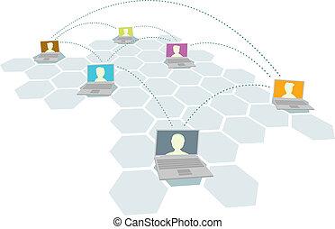 multiple, utilisateurs, gens, /, réseau informatique